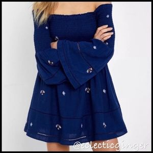 Free People Navy 'Counting Daises' smocked dress